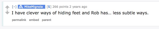 Mike Mignola comments on Rob Liefeld's feet