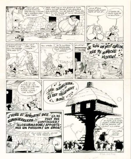Asterix original art by Albert Uderzo for auction at Christies .