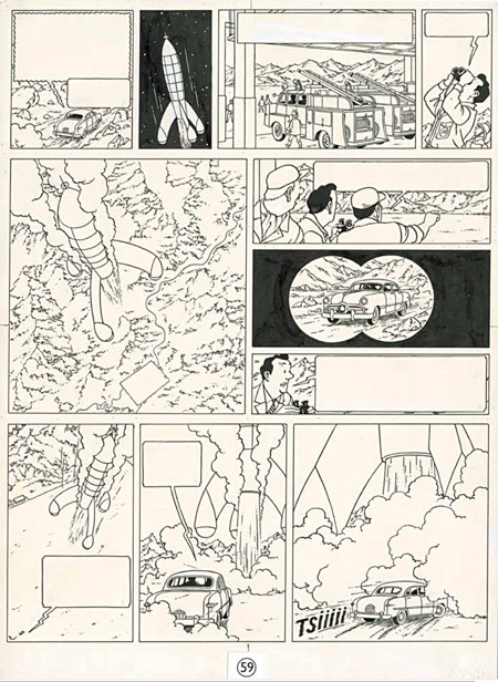 Here Tintin Destination Moon original art page at auction at Christie's in Paris in November 2016