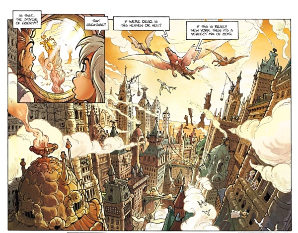Fourmille and Yuri land in Echo New York City in the first volume of the series.