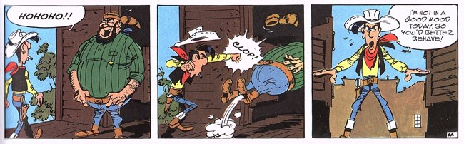 Lucky Luke in a bad mood while babysitting a particularly nasty child