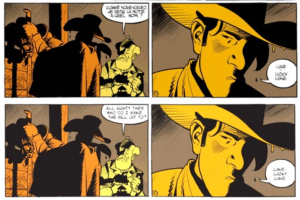 The Man Who Shot Lucky Luke French vs English dialogue lettering