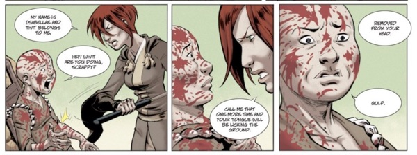 Red on the page usually means one of two things: Isabellae's hair or blood.