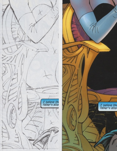 Comparing the chair Jim Lee drew with the chair Scott Williams revealed in his inks