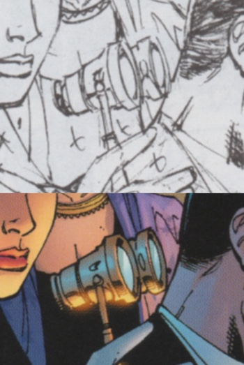 Scott Williams inks and cleans up a pair of Jim Lee's opera glasses