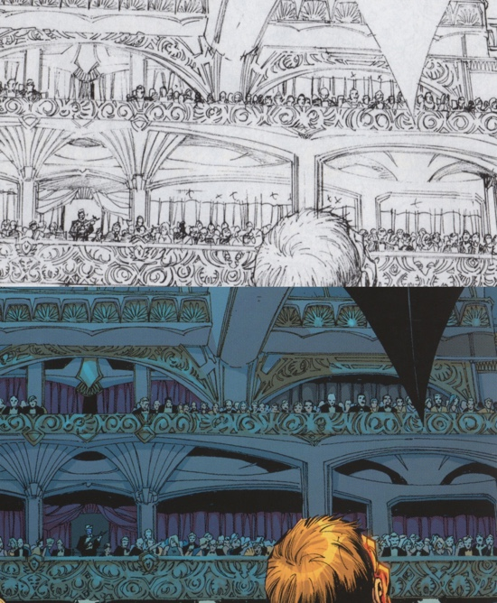 The Facade of the opera house in Batman: Hush by Jim Lee and Scott Williams