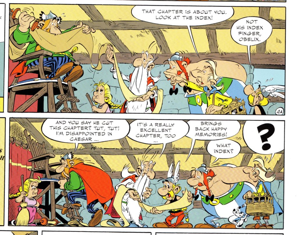 Asterix and Obelix and friends with a book and an index