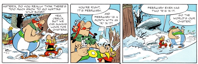 Asterix and the Picts with Asterix and Obelix loving oysters