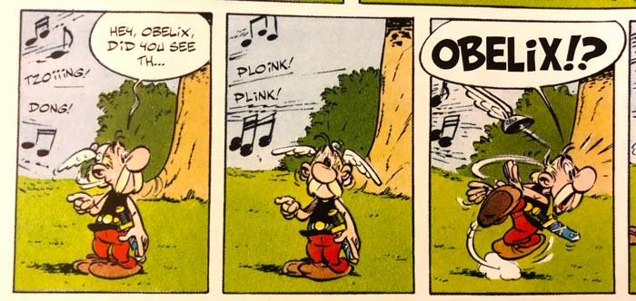 Asterix lost, pointing, calling out to Obelix