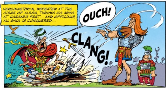"""In """"Asterix and the Chieftain's Shield,"""" Vercingetorix lays down his arms on Caesar's feet."""