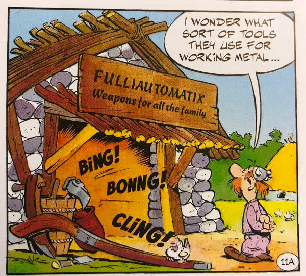 Fulliautomatix makes weapons for Asterix's village