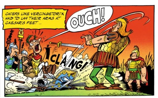 In Asterix the Gaul, Vercingetorix lays down his arms on Caesar's feet.