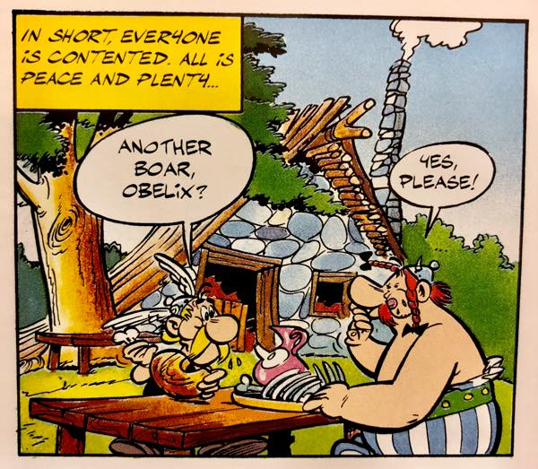 Asterix and Obelix enjoy their favorite food, boar
