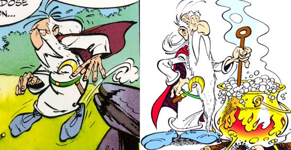 The Druid Getafix from volume 1 versus a later book. The difference is stark.