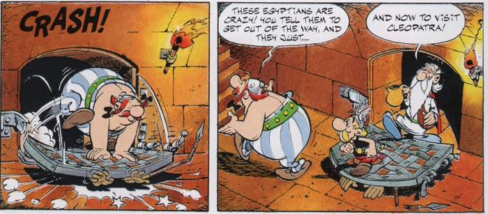 Asterix Obelix and Getafix break out of an Egyptian prison
