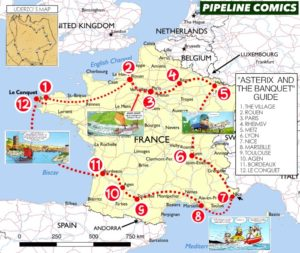 A map of France with Asterix and Obelix's journey from Asterix and the Banquet