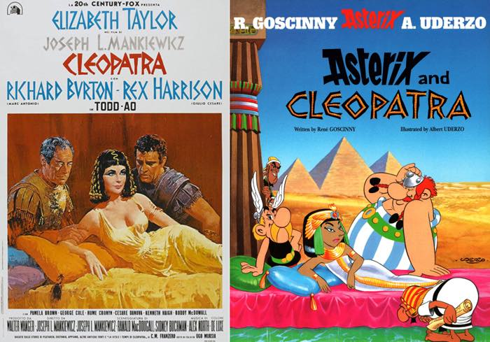 Asterix and Cleopatra's cover next to the Cleopatra movie poster of similar vintage