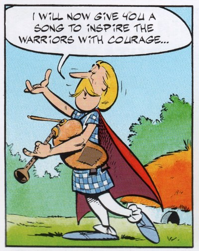 Cacofonix's first appearance, carrying a bagpipe and preparing to sing