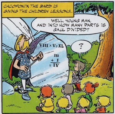 In Asterix and the Golden Sickle, Cacofonix is a teacher for the village's children