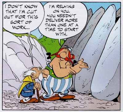 Geriatrix debuts in Asterix the Gladiator as a fill-in menhir delivery boy