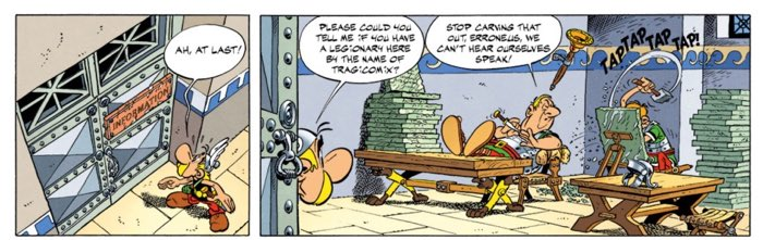 Asterix the Legionary page 16 first tier - Asterix seeks information on Tragicomix's location