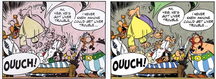 """A panel from the second page of """"Asterix and the Chieftain's Shield"""" that shows how bad the 2004 coloring was, compared with the improved 2010 editions."""