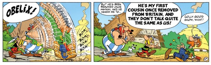 This is Obelix's idea of a handshake