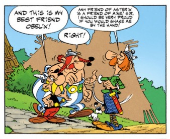 """An example of squeezed lettering in """"Asterix and the Britains"""""""