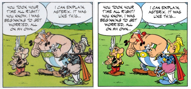 Asterix v8 bad reproduction, before and after the remastering in 2010