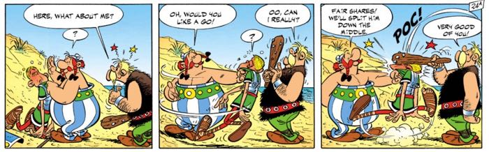 Obelix shares a Roman soldier with a Norman warrior.