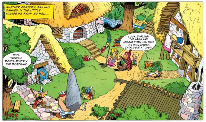 Albert Uderzo draws a wide angle view of The Village from high above