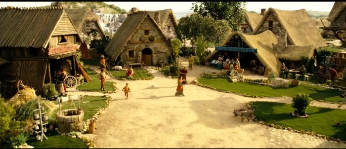 """The Village, as seen near the beginning of """"Asterix at the Olympic Games"""""""