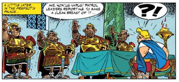 Asterix and the Chieftain's Shield features some dirty charcoal-laden Roman soldiers