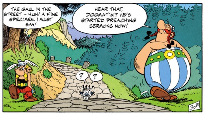 Asterix and Obelix have a disagreement, and Dogmatix is caught in the middle.