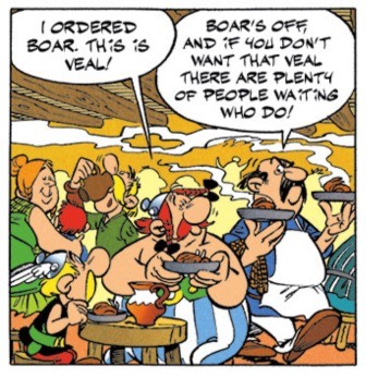 """In """"Asterix and the Banquet"""", our Gallic duo ate a fine veal meal between Lyon and Nice"""