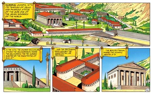 Uderzo spends a page on the architecture of Greece