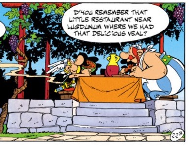 """Asterix and Obelix remember a fine veal meal they ate in """"Asterix and the Banquet"""""""