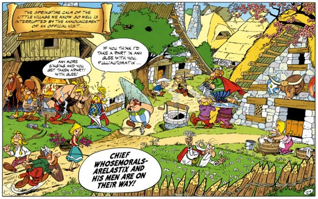 The opening overhead view of the village in Asterix and the Cauldron