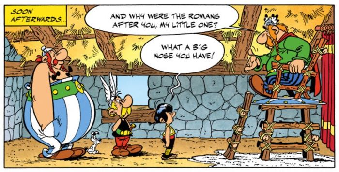 Damien insults Chief Vitalstatistix, which makes Obelix crack up.