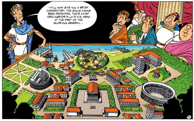 Caesar makes a model of the Mansions of the Gods