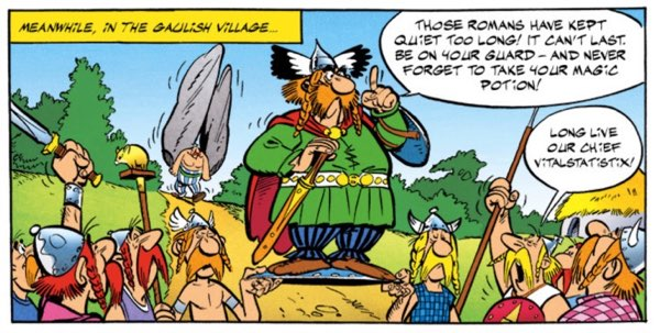 """Chief Vitalstatistix on his shield in """"Asterix the Gaul"""""""