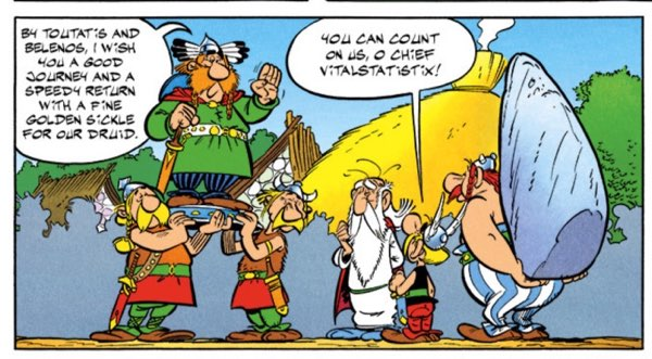 """Chief Vitalstatistix on his shield in """"Asterix and the Golden Sickle"""""""