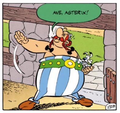 """Obelix gives Asterix the old Roman salute, """"Ave, Asterix!"""""""