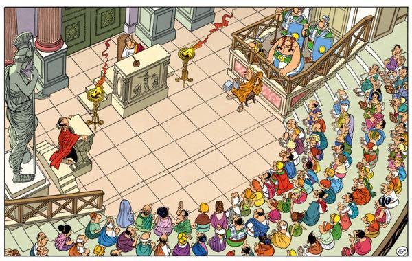 Caesar's Rome courtroom tries Asterix and Obelix