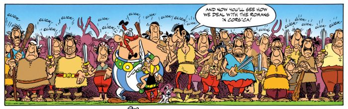 The Corsicans line up to show Asterix and Obelix how they deal with Romans