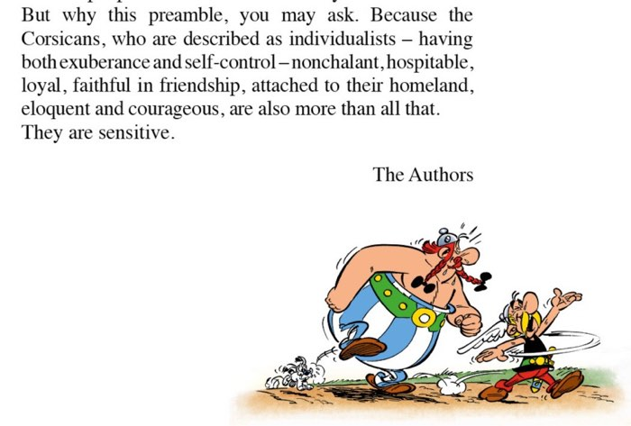 Asterix and the Corsicans text preamble