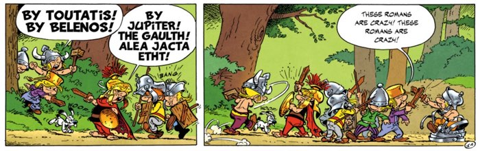 The kids of the village play pretend Asterix and Obelix