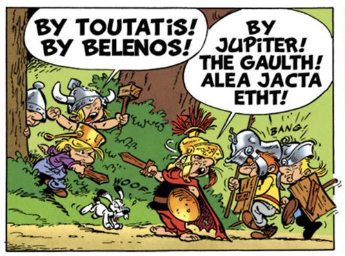 In Asterix in Corsica, the kids in Asterix's village play out the typical Asterix adventure