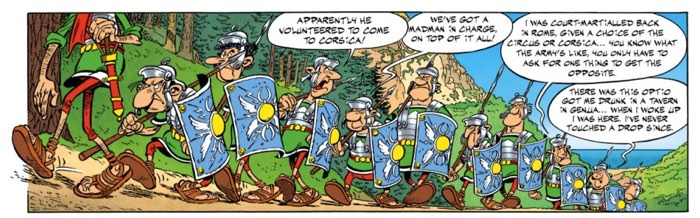 A line of Roman soldiers looking for a fight in Corsica