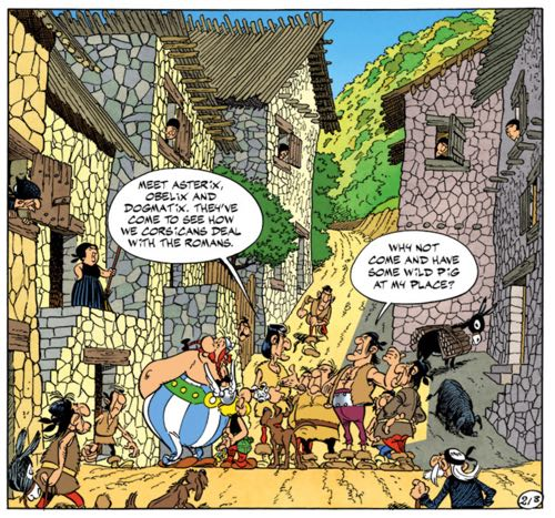 Uderzo draws the streets of Corsica with the stone buildings and dirt roads